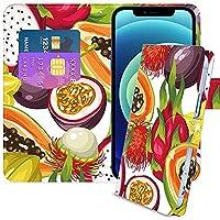 iPhone 6 Plus ケース 手帳型 カード入れ スタンド機能付き 紙幣収納 財布型 熱帯果物 食べ物 12017073
