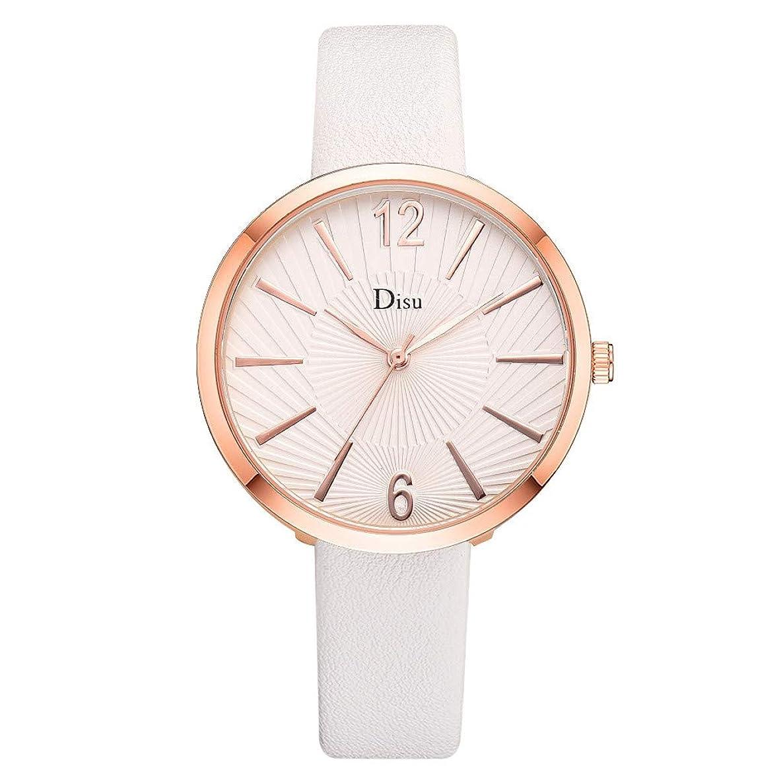 NXDA Wrist watch fashion ladies leather strap watch sun texture analog quartz movement watch Arabic digital easy-to-read watch (G)