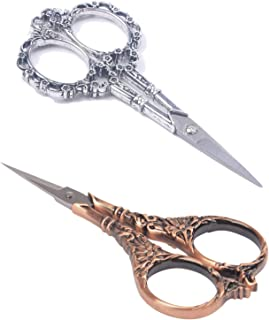 BIHRTC 2 Pairs Sewing Scissors Vintage European Style Flower Pattern Needlework Embroidery Stainless Steel Scissors Tailor Craft Scissors (Copper+Silver)