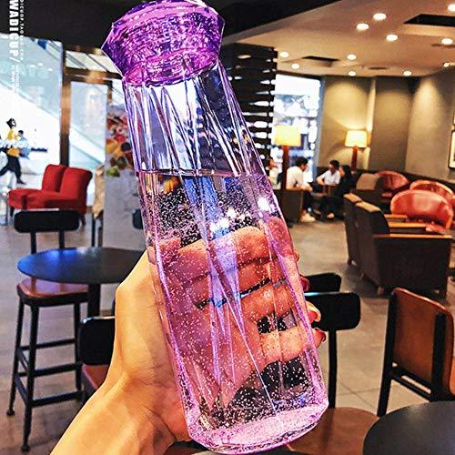 JNML Water cup kleur kristal elegante hand cup draagbare buitensporten plastic beker mannen en vrouwen paar Harajuku eenvoudige water cup, geel