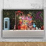 Fondo para fotos de fondos de teléfono con plantas de pared graffiti Street Landscape vinilo inferior lienzo para fotografía fotografía y video, decoración de estudio - 3 x 2 m