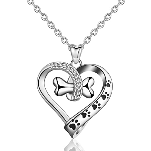 f78d0374d AEONSLOVE Necklaces, S925 Sterling Silver Lovely Dog Cat Paw Pendant  Necklace, 18