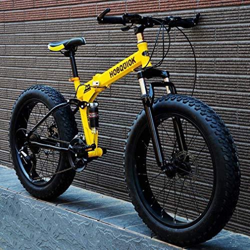 QZ Fat Tire Mountain Bike, Doppelscheibenbremse/High-Carbon Stahlrahmen Cruiser Herrenräder, 26 Inch Beach Snowmobile Fahrrad, Aluminiumlegierung Räder (Color : Yellow, Size : 27 Speed)