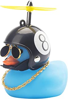 wonuu Rubber Duck Toy Car Decoration Ornaments Blue Duck Car Dashboard Decorations Cool Glasses Duck with Propeller Helmet