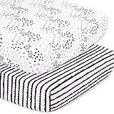 The Peanutshell Elephant & Stripe Fitted Crib Sheet Set, Black & White 2 Pack Set