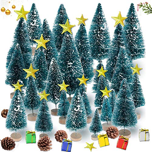 Sunshine smile 35 PCS Mini Alberi di Natale,Alberi per Fai da Te Home Decor,Mini Alberi di Natale Artificiali, Finte Piccolo Alberelli,Mini Albero di Natale Innevato,Mini Pino Albero(Blu)