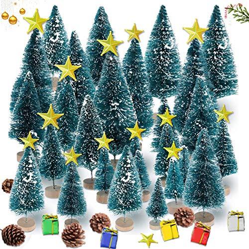 35 Stück Weihnachtsbaum,Mini Weihnachts Baum,Christmasbaum Mini Grün,Weihnachtsbaum Miniatur,Künstlicher Weihnachtsbaum,weihnachts baum klein,Künstlich Klein Weihnachtsdeko,Mini Grün Tannenbaum(Blau)