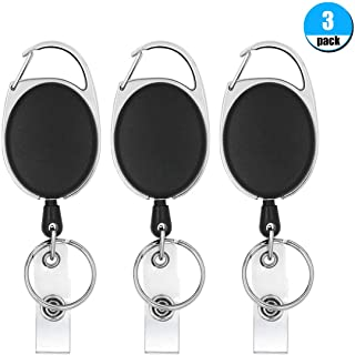 Retractable Badge Reel with Carabiner Belt Clip and Key Ring for ID Card Key Keychain Badge Holder Black 3 Pack by Foroffice