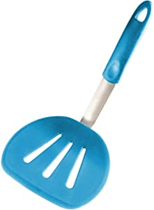 StarPack Premium Flexible Wide Silicone Turner Spatula - High Heat Resistant to 600°F, Hygienic One Piece Design, Non Stick Rubber Kitchen Utensil for Fish, Eggs, Pancakes, Cookies & more(Teal Blue)