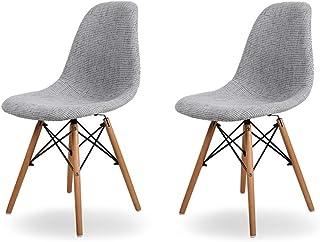 Sillas de comedor modernas - Juego de sillas de comedor tapizadas de 2 piezas, respaldos altos Sillas de asiento acolchadas y suaves con patas de madera for cocina u oficina en el hogar, gris Adecuado