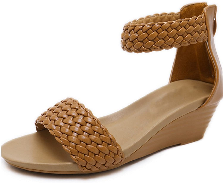 New Roman Style Women's Sandals Weave Large Comfort Summer Beach Heel shoes Wedges Sandals Buckles Wedge Sandals Women School Sports Party XIAOQI