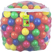 Click N' Play 0005A Phthalate Free BPA Free Crush Proof Plastic Ball, Pit Balls-6 Bright Colors in Reusable and Durable Storage Mesh Bag with Zipper