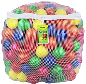 Click N  Play Pack of 100 Phthalate Free BPA Free Crush Proof Plastic Ball Pit Balls - 6 Bright Colors in Reusable and Durable Storage Mesh Bag with Zipper