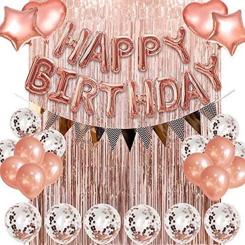 Geburtstagsdeko Ballons, Rosegold Deko luftballons für Kinder, Folienballons Kit mit Ballonpumpe und Geburtstags Banner Ideal für Weihnachten Geburtstag Verlobung Party Deko.
