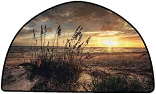 Rug Bathroom Mat Beach,Calm Coastal Scene with Horizon in The Middle of Nowhere Cloudy Sunset Ocean Picture,Tan Yellow,W35 x L24 Half Round Carpet Flooring