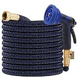 KAREEME Dehnbarer Gartenschlauch Verbesserter flexibler Wasserschlauch mit drei Latexkernen, 3/4 und 1/2 Vollmetallanschluss, expandierende Schlauchleitungen mit 10-Funktions-Spritzpistole (15m)
