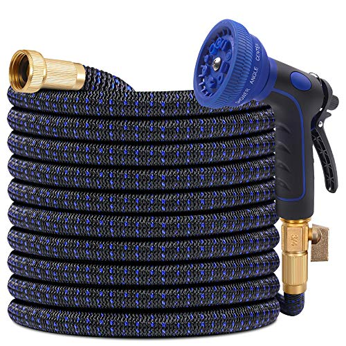 Expandable Garden Hose 50ft Flexible Water Hose with 10 Function Spray Hose Nozzle 3/4 Solid Brass Connectors Lightweight Durable Extra Strength for Watering and Washing(Blue)