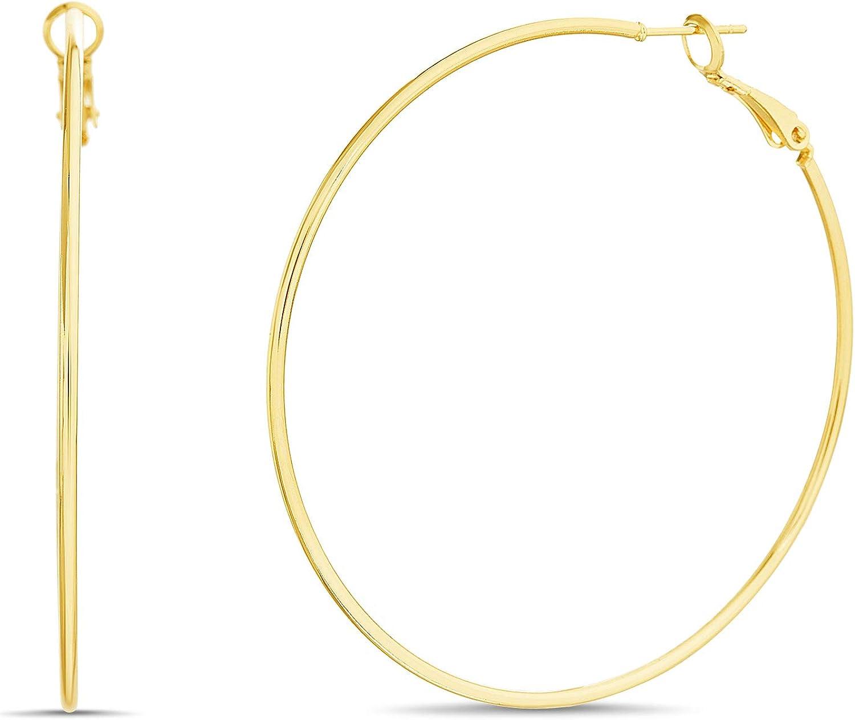 Nautica 59mm Thin Wire Hoop Earrings for Women