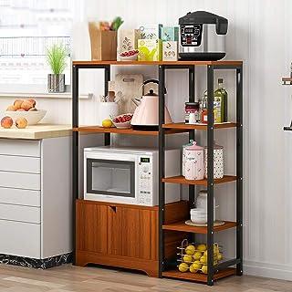 Rangement Cuisine Organisateur étagère Micro-ondes Stand avec Cabinet et étagères 4 niveau 3 couleurs Cuisine Baker Rack V...