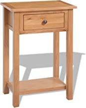 """Festnight Brown Console Table Solid Oak with 1 Drawer Living Room Storage 19.7"""" x 12.6"""" x 29.5"""""""