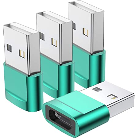 Blue USB C Female to USB Male Adapter 4-Pack ,Type C to USB A Charger Cable Adapter,Compatible with iPhone 11 12 Pro Max,iPad 2020,Samsung Galaxy Note 10 S20 Plus S20+ Ultra,Google Pixel 4 3 2 XL
