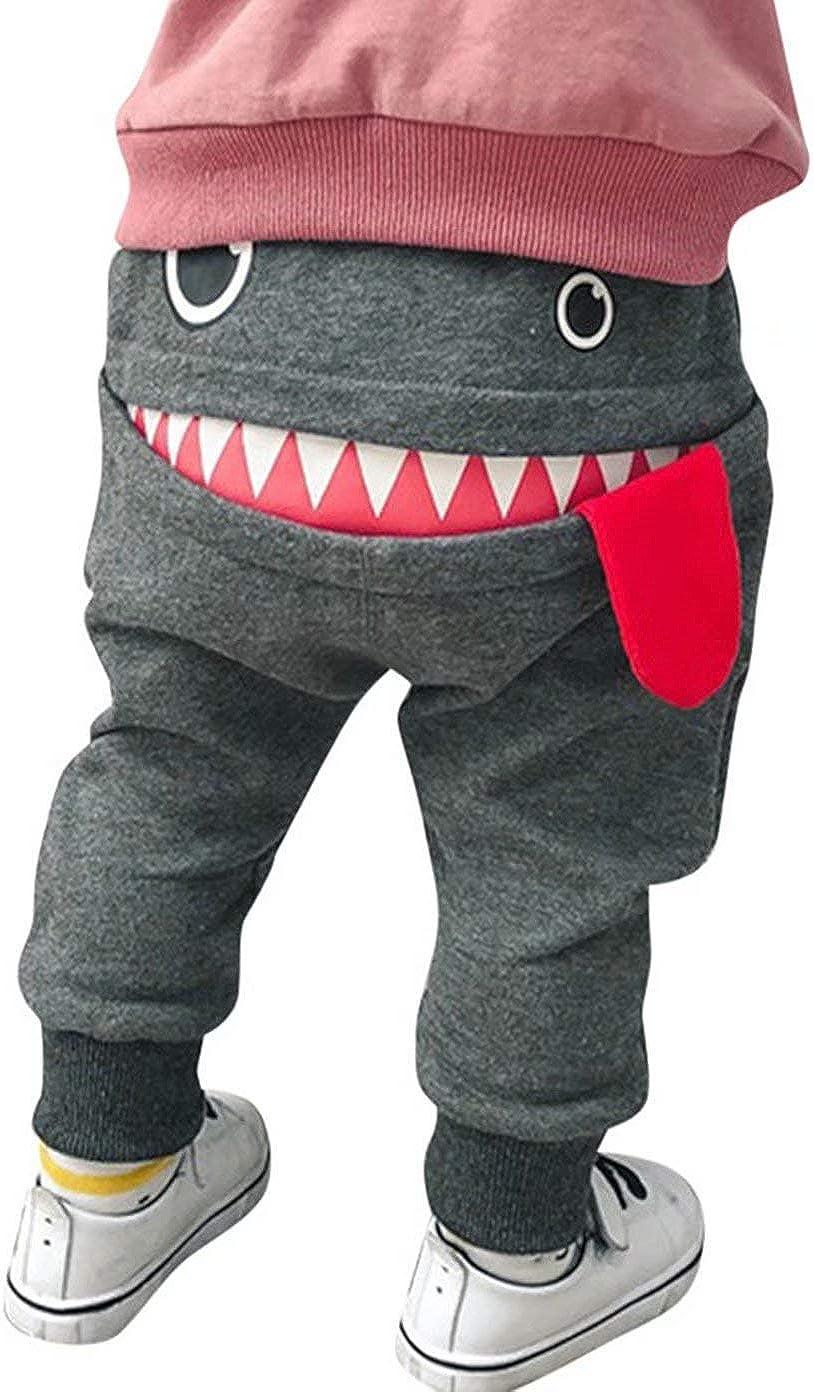 EGELEXY Toddler Boys Girls Cartoon Monster Thick Pants Cute Shark Sweatpants Cotton Harem Trousers