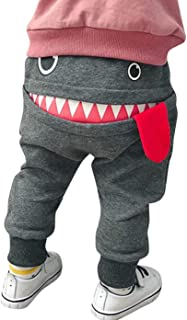 EGELEXY Toddler Boys Girls Cartoon Monster Thick Pants Cute Shark Sweatpants Cotton Harem Trousers