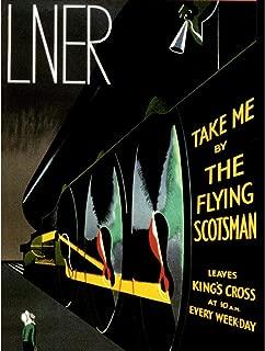 Wee Blue Coo Travel Flying Scotsman Locomotive Steam Train Rail Engine UK Unframed Wall Art Print Poster Home Decor Premium