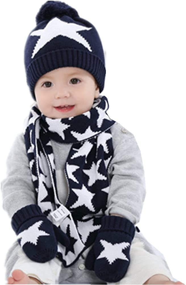 Ding-dong Baby Kid Boy Girl Winter Knitted Star Hat+Scarf+Gloves 3Pieces Set