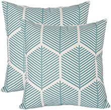 2 Pack Throw Pillow Cover Decorative Pillow Cases Blue Geometric Theme Protectors 18x18 Inches Cushion Cover