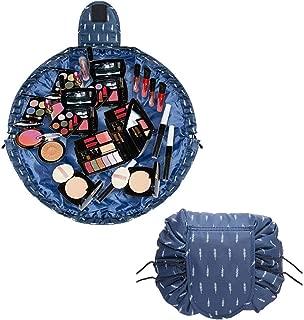 Debispax Portable Lazy Drawstring Makeup Bag Travel Accessories Essentials Cosmetic Organiser Storage For Woman Girl (Blue White)