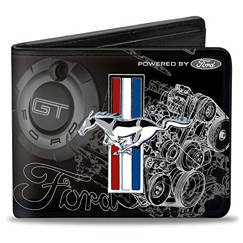 Buckle-Down Herren Wallet Mustang Tri-bar Stripe/gt Motor Blueprint Zweifalten-Geldbörse, Mehrfarbig, Einheitsgröße