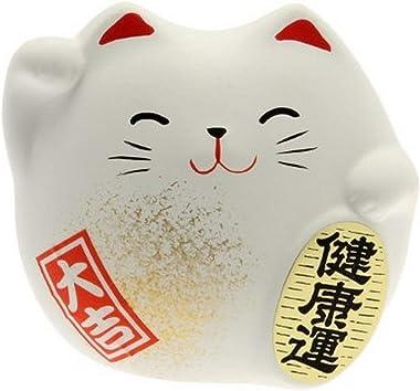 Kotobuki Maneki Neko Charm Kenkoh-un Collectible Figurine, Good Health, White