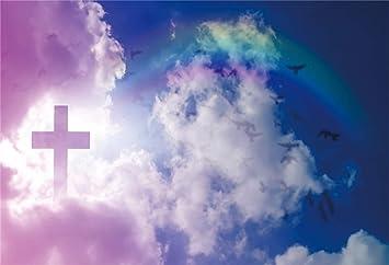 Amazon Com Leowefowa 8x6 5ft Jesus Christ Worship Backdrop Vinyl Crucifix Above The Blue Sky White Clouds Flying Doves Rainbow Scenic Photography Background Church Sanctuary Decor Church Wallpaper Camera Photo