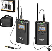 Wireless Microphone COMICA CVM-WM100 48 Channels UHF Wireless Lavalier Microphone 328ft Working Distance Lavalier Microphone for Cameras, Camcorder,Smartphone