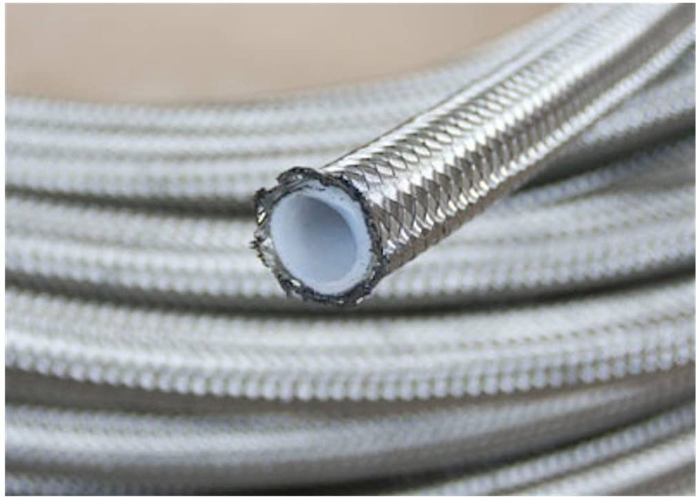 "Brake Hose 24/"" 3 AN Straight to 3 AN 90° Female Braided Stainless PTFE Lined"