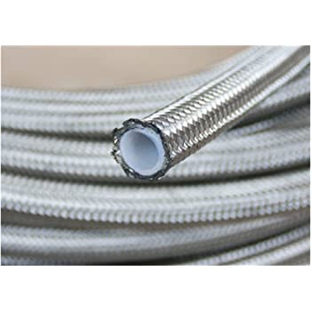 for Fluids : Fuel Coolant -6AN, 10 Feet Silver. Single Layer Methanol Water Oil Autobahn88 PTFE Teflon Hose with High Tensile Stainless Steel Braided