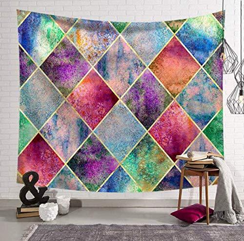 RKZM Geometrische tapijt, wandtapijt, polyester, zandkleurig, bedrukt, wandbehang, doek, decoratief strandhanddoek, 230 x 150 cm