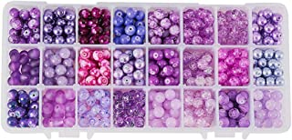 PH PandaHall 1 Box (About 720 pcs) 24 Color 8mm Round Mixed Style Glass Beads Assortment Lot for Jewelry Making, Gradual Purple Series