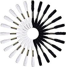 Pulsera de la Amistad con Hilo de Bordar para Manualidades, 24 Unidades, Color Blanco y Negro