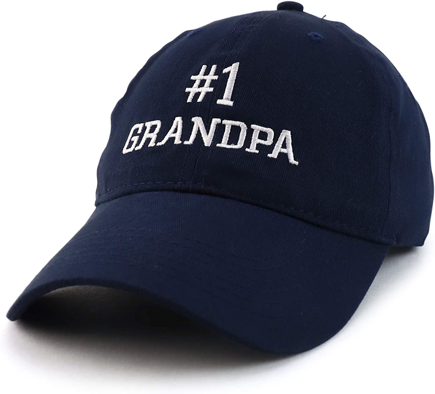 Trendy Apparel Shop Number 1 Grandpa Embroidered Soft Crown 100% Brushed Cotton Cap