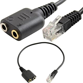 SuperWhole Headset Cable 2 X 3.5mm to RJ9 Jack Adapter Convertor PC Headset Telephone Using