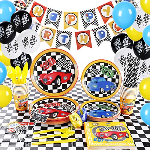 Race Cars Party Supplies Set For Boys - Hot Wheels Birthday Party Decorations - Include Racing Car Plates Cups Napkins Cutlery Straws Banner Tablecloth Toppers Bloons - Serves 20 Guests