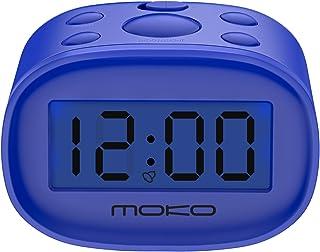 MoKo Kids Alarm Clock, High Accuracy Mini LCD Display Digital Clock Night Light Travel Bedside Alarm Clocks with Snooze Time Backlight Electronic Home Office Table Clock - Blue