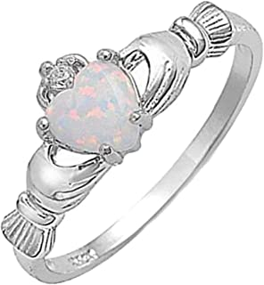 Blue Apple Co. 925 Sterling Silver Claddagh Ring Lab Created White Opal Clear CZ Accent Wedding Ring