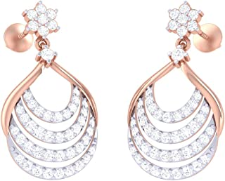 Jiana Jewels Rose Gold Plated Sterling Silver 0.34 Carat I-J Color, SI2-I1 Clarity Lab Created Diamond Hoop Earrings For Women /& Girls