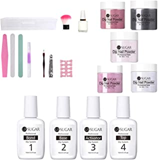 Dipping Powder Nail Starter Kit Glitter 5 Colors,Dip Powder System Starter Nail Kit Acrylic Dipping System for French Nail Manicure Nail Art Set Essential Kit,Portable Kit for Travel