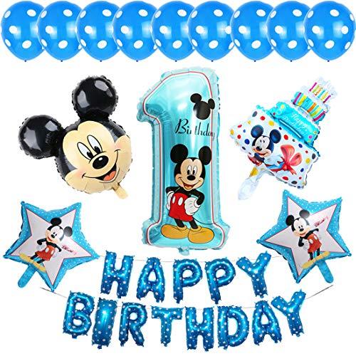 Decoraciones de cumpleaños de Mickey Mouse Miotlsy Decoración Fiesta de Cumpleaños Fiesta de Mickey Minnie Banner de Happy Birthday, Globos número para la Fiesta temática de Mickey Mouse