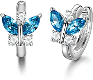 Unbespielt Bijoux boucles doreilles bijoux en argent 925 de papillon petites pour les femmes ou les enfants de 9 x 5 mm cristal bleu y compris bo/îte /à bijoux