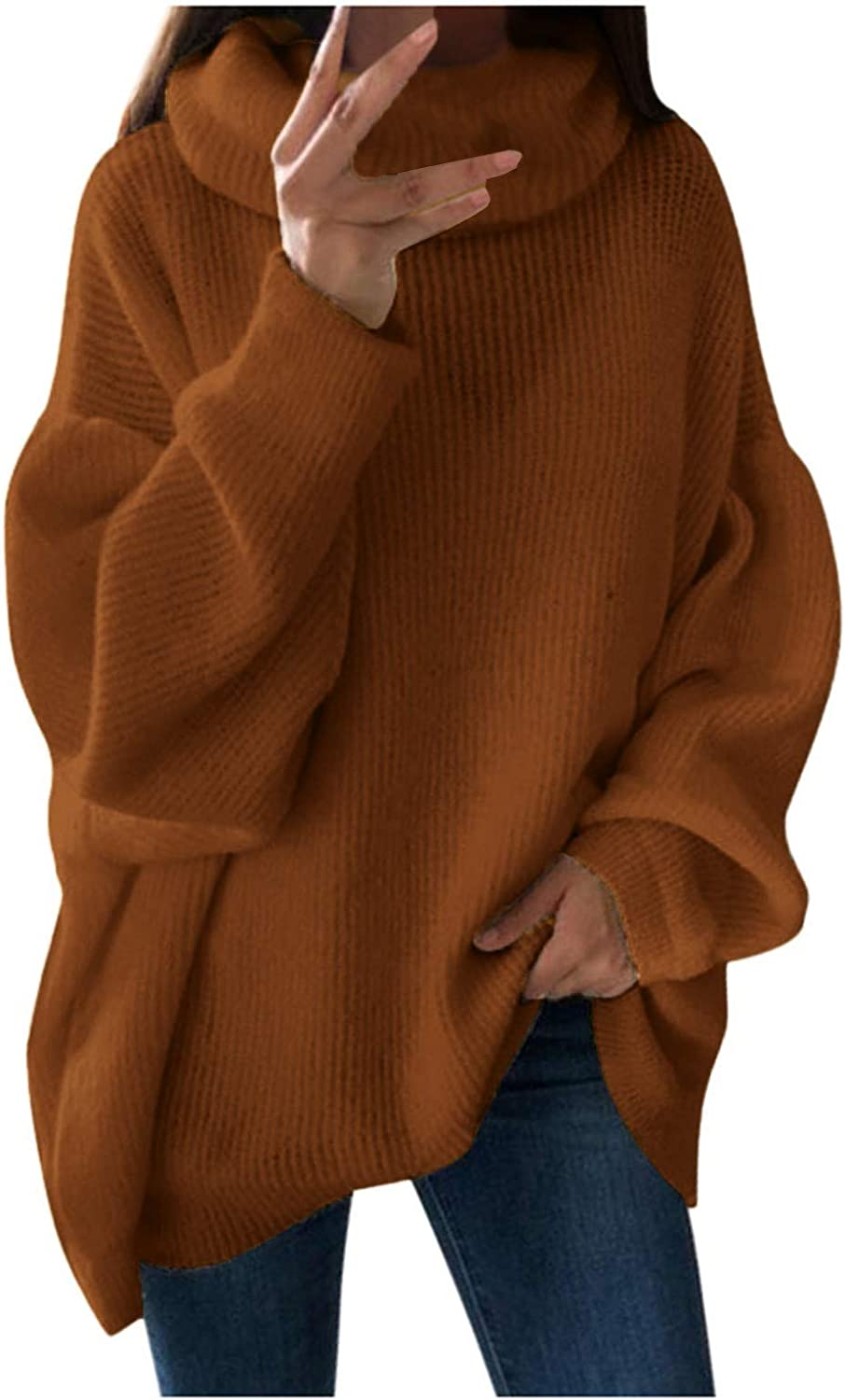 Turtleneck for Women Plus Size Solid Casual High Collar Shoulder Pocket Knitted Loose Sweater Knitwear Top